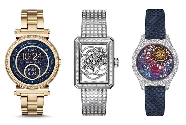The Michael Kors Sofie watch, the Chanel Premiere Camelia Skeleton watch, and the Dior Grand Sir Botanic watch.