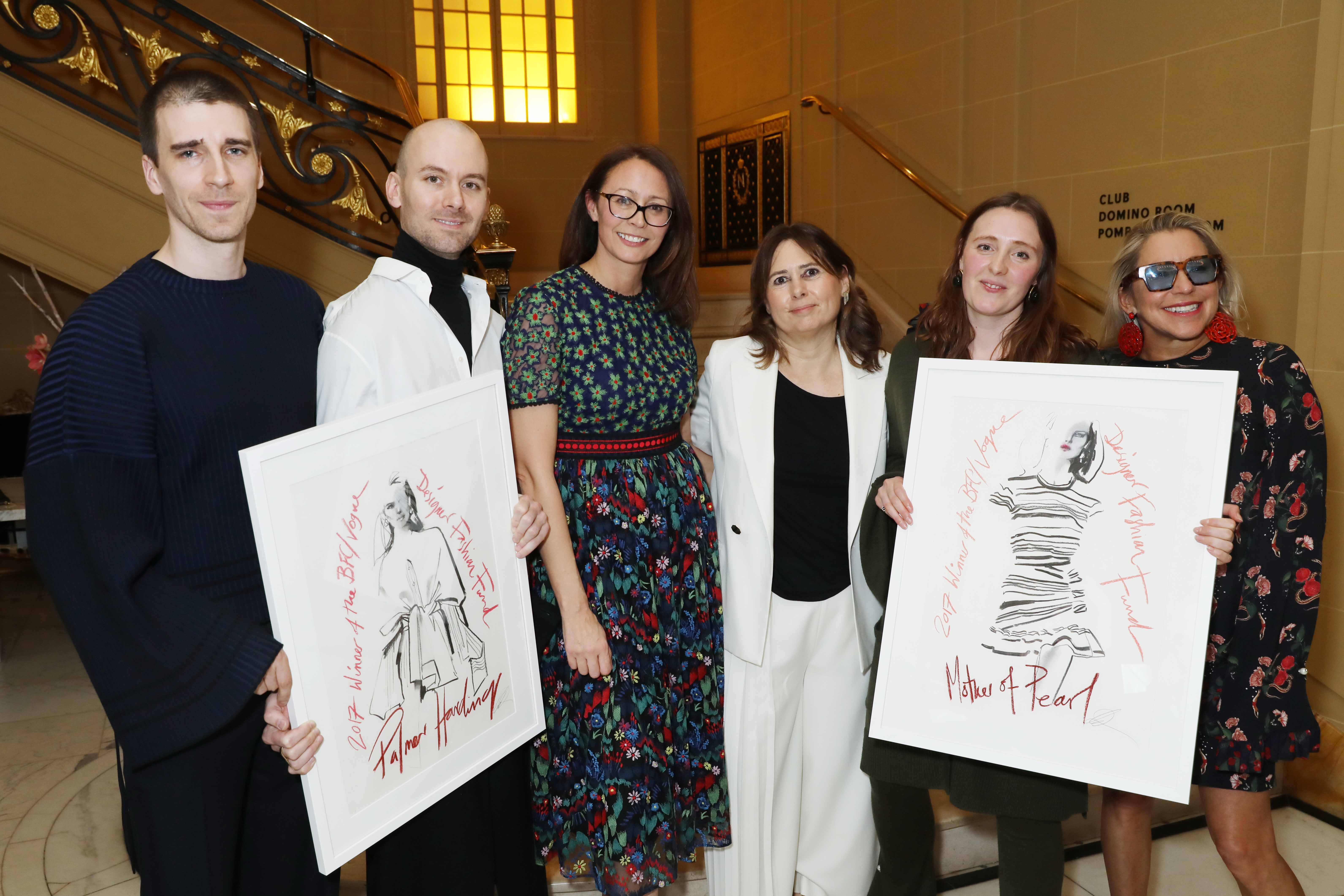 Matthew Harding and Levi Palmer of Palmer/Harding, the BFC's Caroline Rush, British Vogue's Alexandra Shulman and Amy Powney and Maia Norman of Mother of Pearl