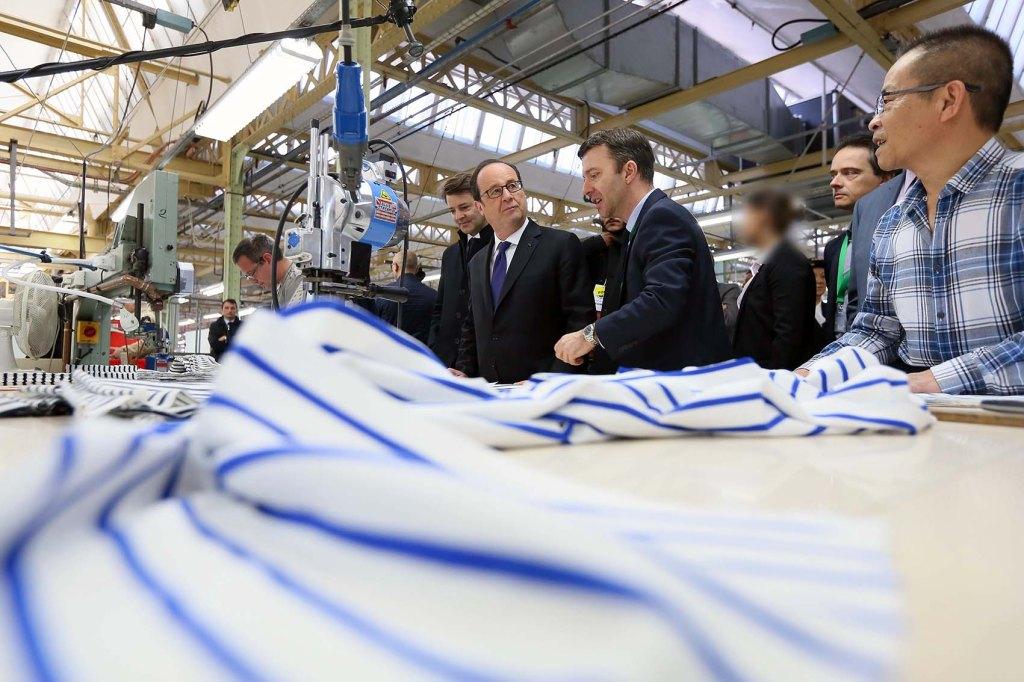 François Hollande visiting the Petit Bateau factory.