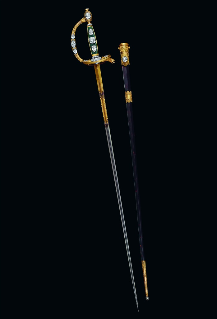 The sword of Napoleon containing the Regent Diamond, designed by the Chaumet founder.