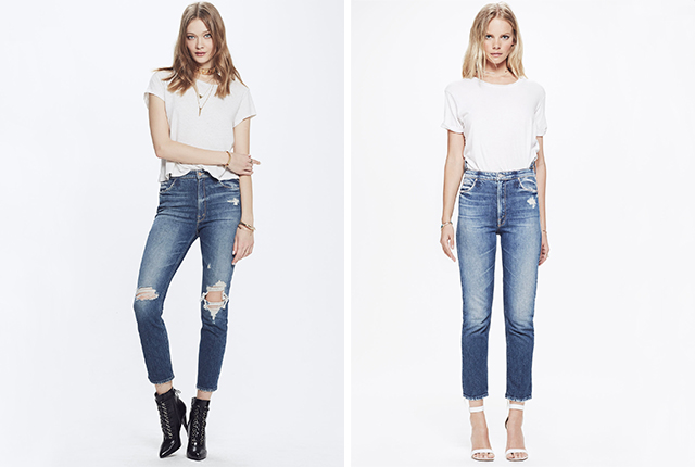 The Mother Denim Dazzler Shift Your Treat Or Mine? jean (left) and the Mother Denim Dazzler Shift My Treat jean.