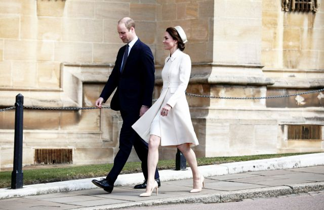 Prince William and Duchess of Cambridge (in Catherine Walker) at the Easter Mattins Service.