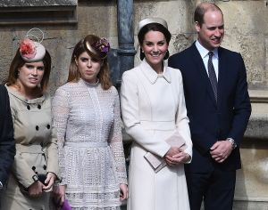Princess Eugenie, Princess Beatrice of York, the Duchess of Cambridge (in Catherine Walker) and Prince William.