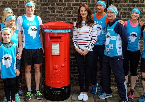 The Duchess of Cambridge (in Luisa Spagnoli) meets with London Marathon runners