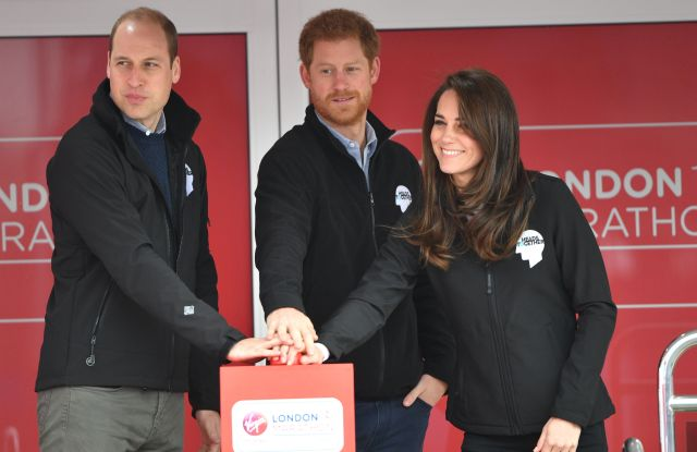 Prince William, Prince Harry and the Duchess of Cambridge at the London Marathon