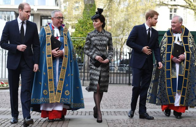 Prince William, the Duchess of Cambridge (in Missoni) and Prince Harry arrive after laying a wreath at Westminster Abbey in London.