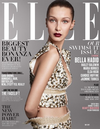 Elle's May cover featuring Bella Hadid.