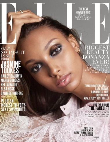Elle's May cover featuring Jasmine Tookes.