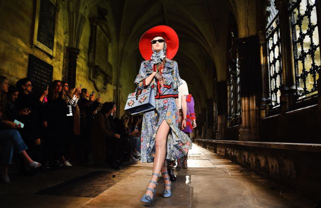 A model on the catwalk at the Gucci Cruise 2017 show, held in London's Westminster Abbey.
