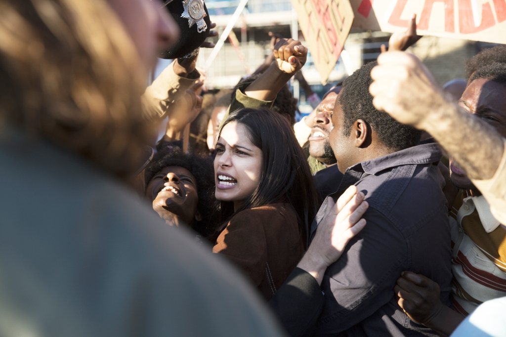 Freida Pinto as Jas Mitra in Guerrilla (Episode 1). Photo: Sky UK Limited/SHOWTIME