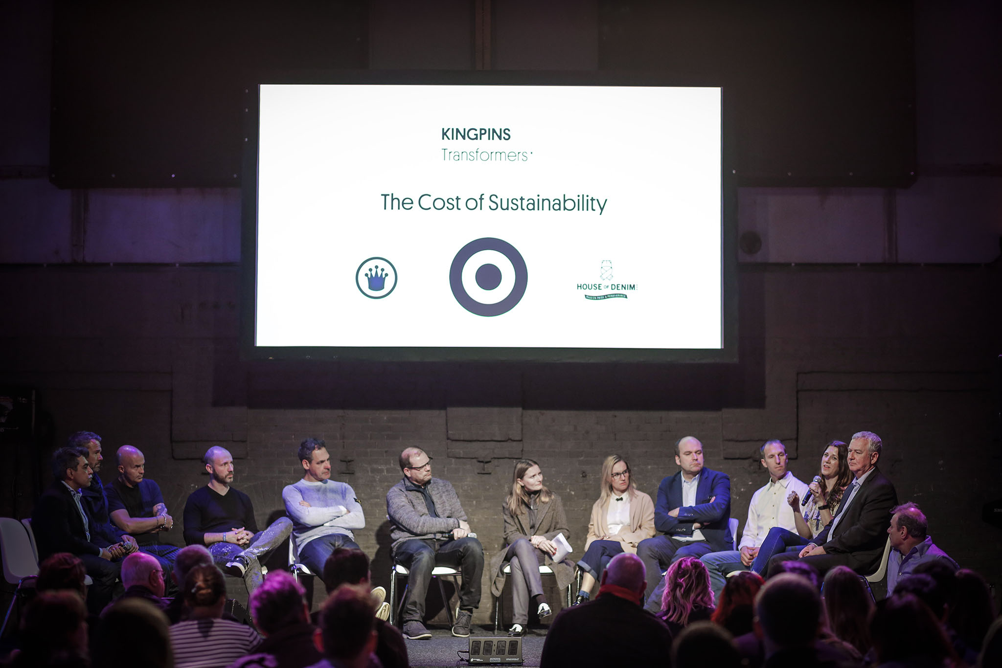 The panelists of Kingpins Transformers fielded questions on sustainability for denim businesses across the production chain