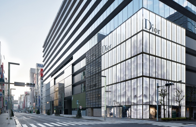 The exterior of the Dior store in Tokyo's new mixed-used development Ginza Six.