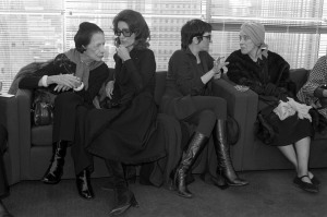 Diana Vreeland, Lee Radziwell, Liza Minnelli and Martha Graham in the Halston Spring/Summer 1978 made-to-order show in New York