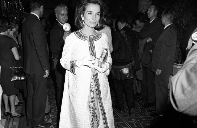 Lee Radziwill arriving at Truman Capote's Black and White Ball in the Grand Ballroom at the Plaza Hotel in New York City