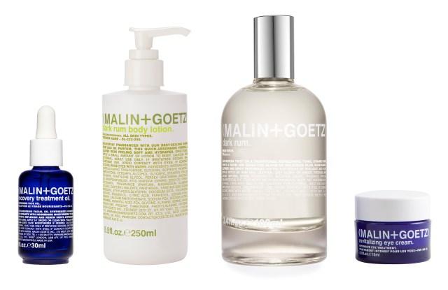 Malin + Goetz's Dark Rum Body Lotion, Dark Rum Eau de Parfum, Recovery Treatment Oil and Revitalizing Eye Cream.
