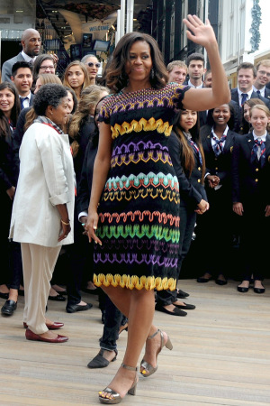 MILAN, ITALY - JUNE 18: Then-First Lady Michelle Obama arrives at Milan Expo 2015 on June 18, 2015. (Photo by Pier Marco Tacca/Getty Images)