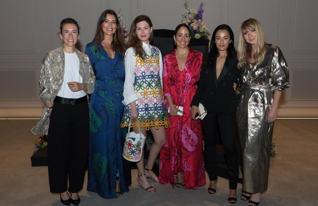 Carmen March, Joana De Noronha, Sara Battaglia, Carmen Borgonovo and Amina Muaddi with Net-a-porter's fashion retail director Lisa Aiken during the company's new designers tour in Dubai.