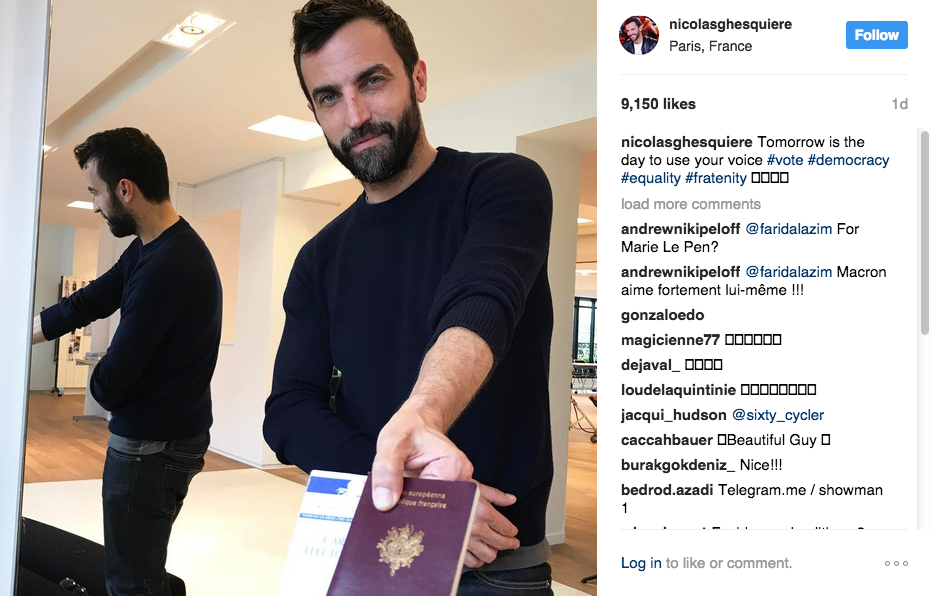 Nicolas Ghesquière shows his passport and voting card on Instagram