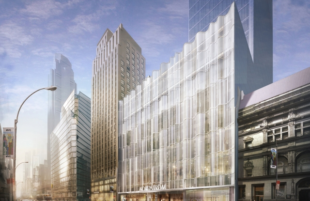 A rendering of the Nordstrom stores slated for New York City.