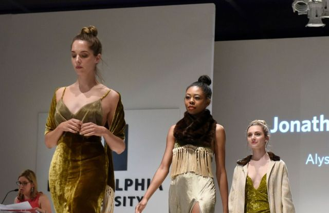 Jonathan Cantu won Excellence in Eveningwear for this collection. Collaboration with textile design student Alyssa Yanni.