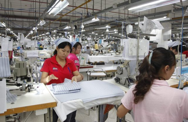 Workers at a garment factory in Dongguan, China.