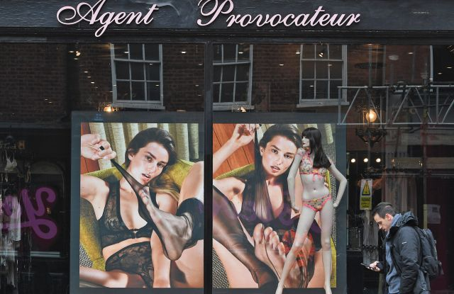 Pedestrians walk past a branch of the lingerie shop, Agent Provocateur in central London, Britain, 03 March 2017. British media report Agent Provocateur, which has 10 stores in the UK and employs 600 people has been bought by a firm linked to British businessman, Mike Ashley, the owner of Sports Direct.Agent Provocateur in London, United Kingdom - 03 Mar 2017