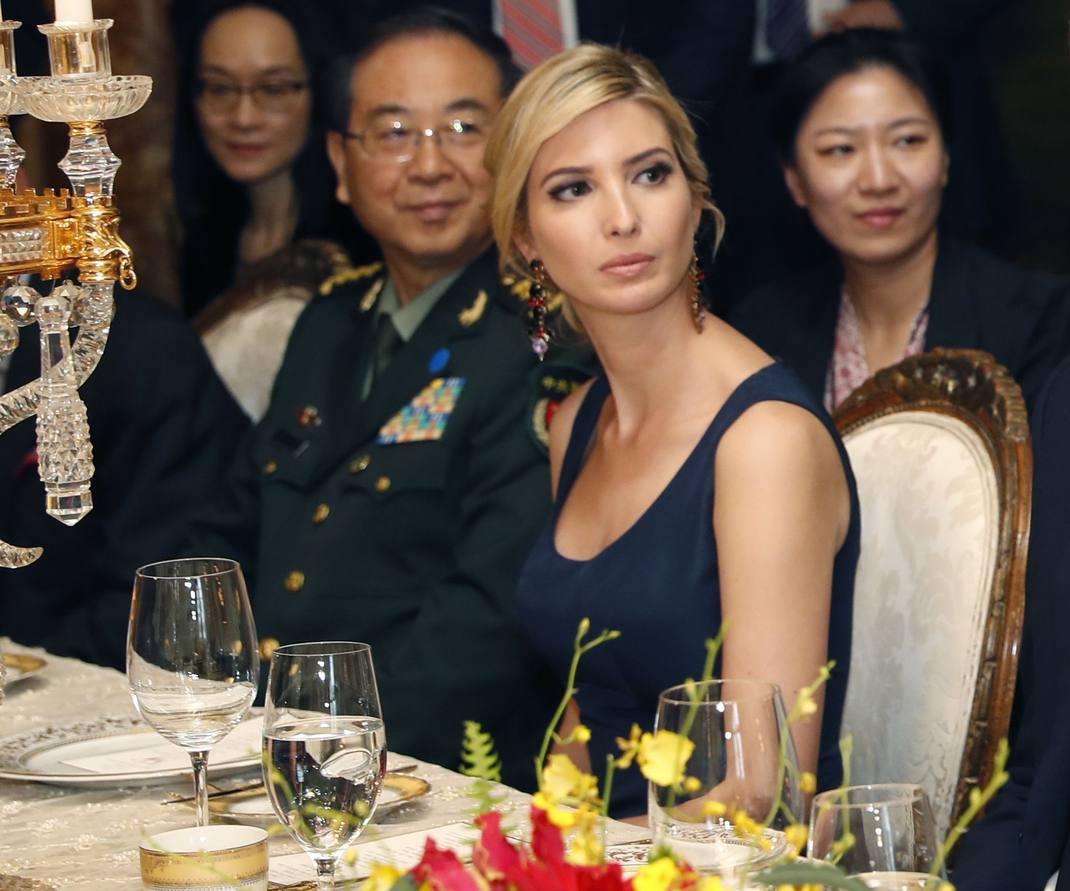 Ivanka Trump at a state dinner during Chinese president Xi Jinping's first meeting with Donald Trump.