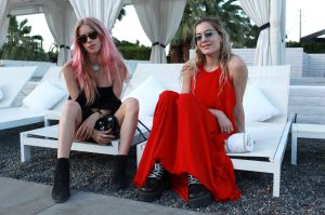 Mary Charteris and Chelsea Leyland Rosetta Getty x Doug Aitken Desert Dinner at SO.PA, Coachella Valley Music and Arts Festival, Palm Springs, USA - 14 Apr 2017