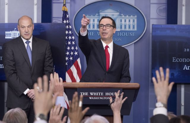 Gary Cohn and Steven MnuchinWhite House news conference with US Treasury Secretary Steven Mnuchin and National Economic Director Gary Cohn, Washington, USA - 26 Apr 2017US Treasury Secretary Steven Mnuchin (R) and National Economic Director Gary Cohn (L) participate in a news conference to discuss the tax reform plan of US President Donald J. Trump, in the James Brady Press Briefing Room at the White House in Washington, DC, USA, 26 April 2017.