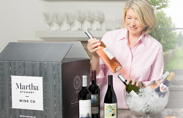 Martha Stewart packs wine for delivery.