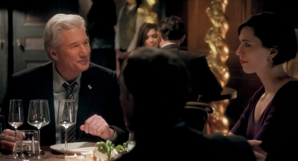 """A scene from """"The Dinner"""" with Richard Gere and Rebecca Hall."""