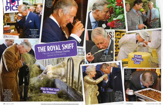 A two-page spread shows Prince Charles smelling things.