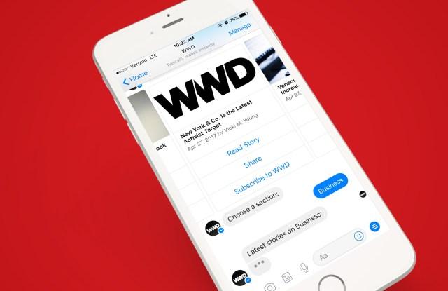 A rendering of WWD's Facebook Messenger chatbot.