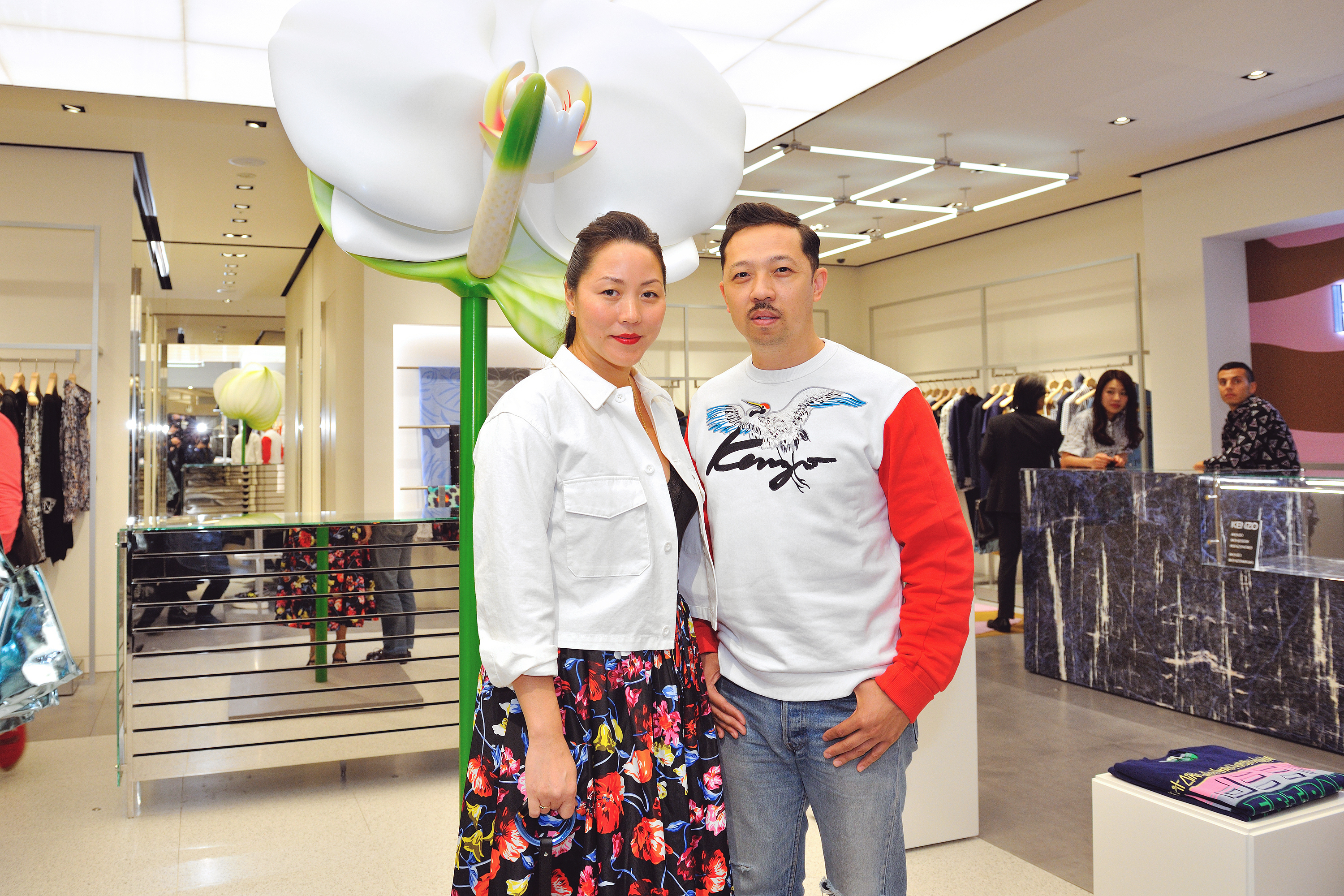 Carol Lim and Humberto Leon in the Kenzo store in Ginza.