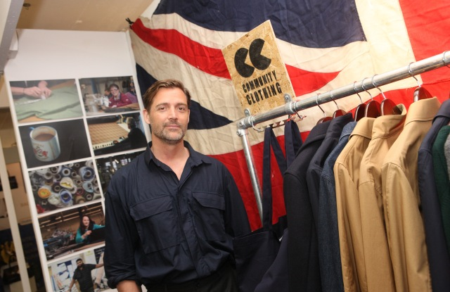 Patrick Grant at his Community Clothing booth.