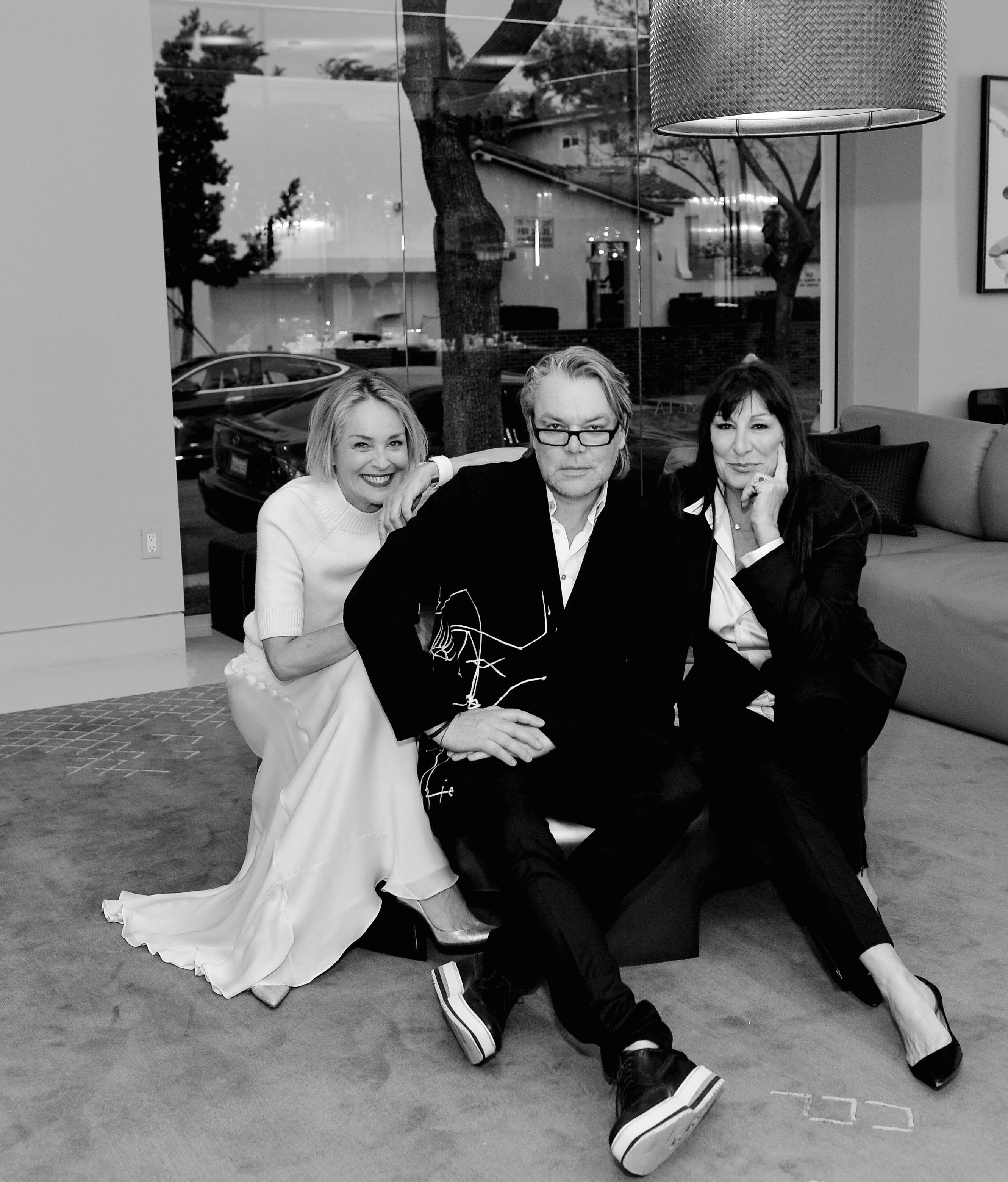 Sharon Stone, David Downton and Angelica Huston at Mass Beverly showroom
