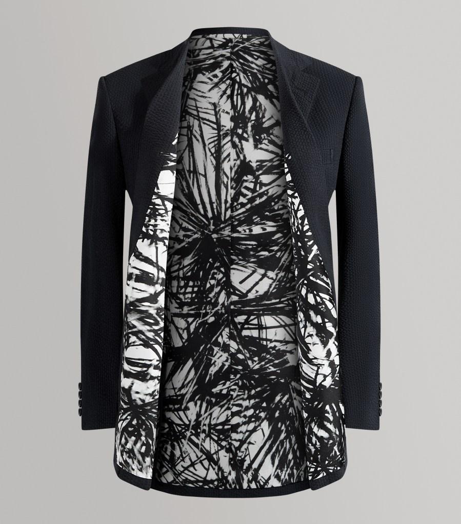 "A Huntsman bespoke jacket featuring Beatrice Caracciolo's ""Pine Needles"" lining."