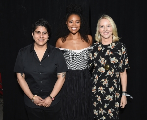 NEW YORK, NY - MAY 20: (L-R) Beautycon CEO & Founder Moj Mahdara, Actress Gabrielle Union, and Allure Founder Linda Wells attend the Beautycon Festival NYC 2017 on at Brooklyn Cruise Terminal May 20, 2017 in New York City. (Photo by Nicholas Hunt/Getty Images for Beautycon)