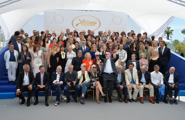 Leading film industry figures — and Jean Paul Gaultier — pose for the 70th anniversary photo call at the 2017 Cannes Film Festival.