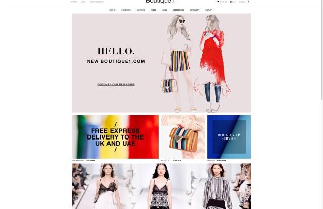 The Boutique1.com homepage