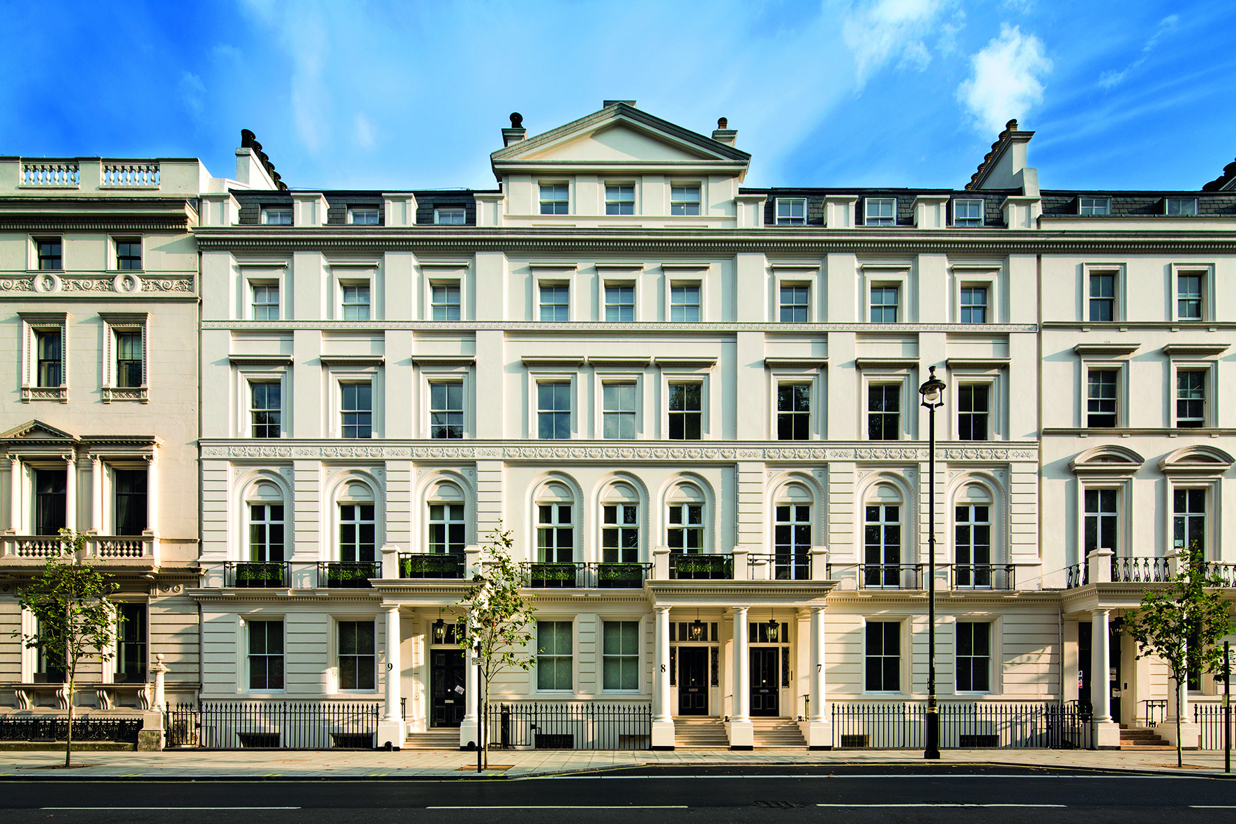 The exterior of a new luxury development, which was the one-time London home of French fashion millionairess Marie Callot Gerber.