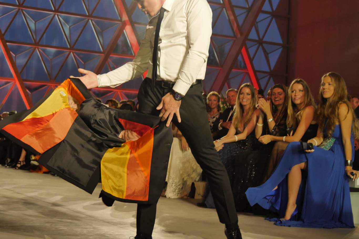 Antonio Banderas on the catwalk at the Fashion for Relief event in Cannes