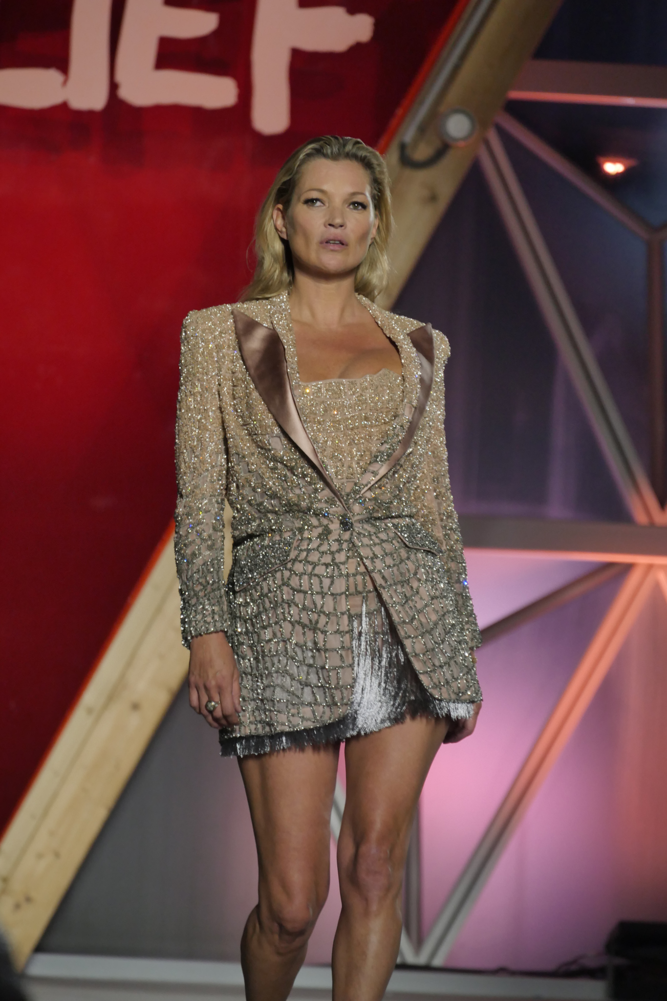 Kate Moss on the catwalk at the Fashion for Relief event in Cannes
