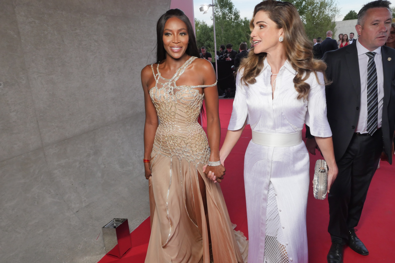 Naomi Campbell and Queen Rania at the Fashion for Relief event in Cannes.