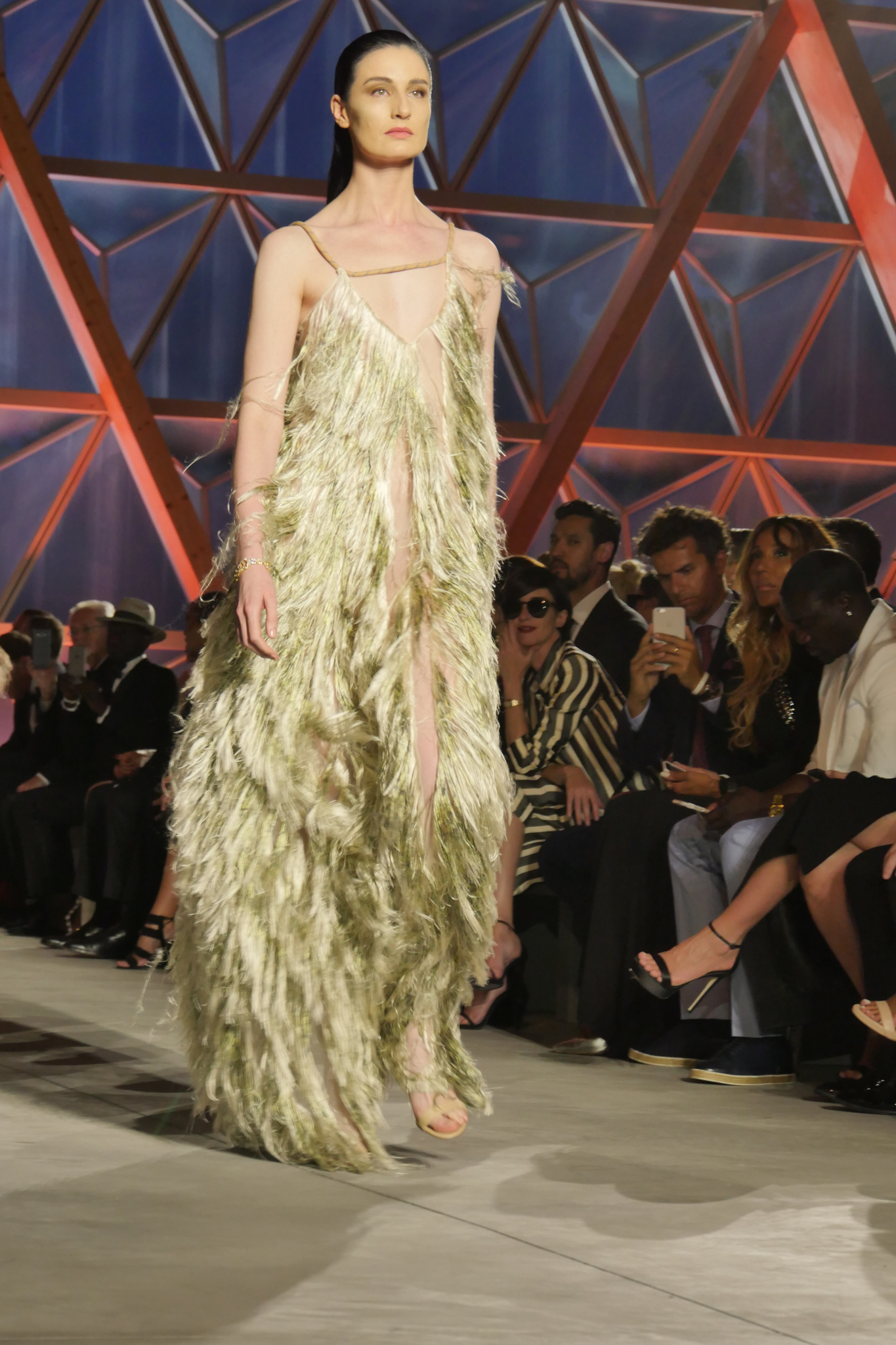 Erin O'Connor on the catwalk at the Fashion for Relief event in Cannes.