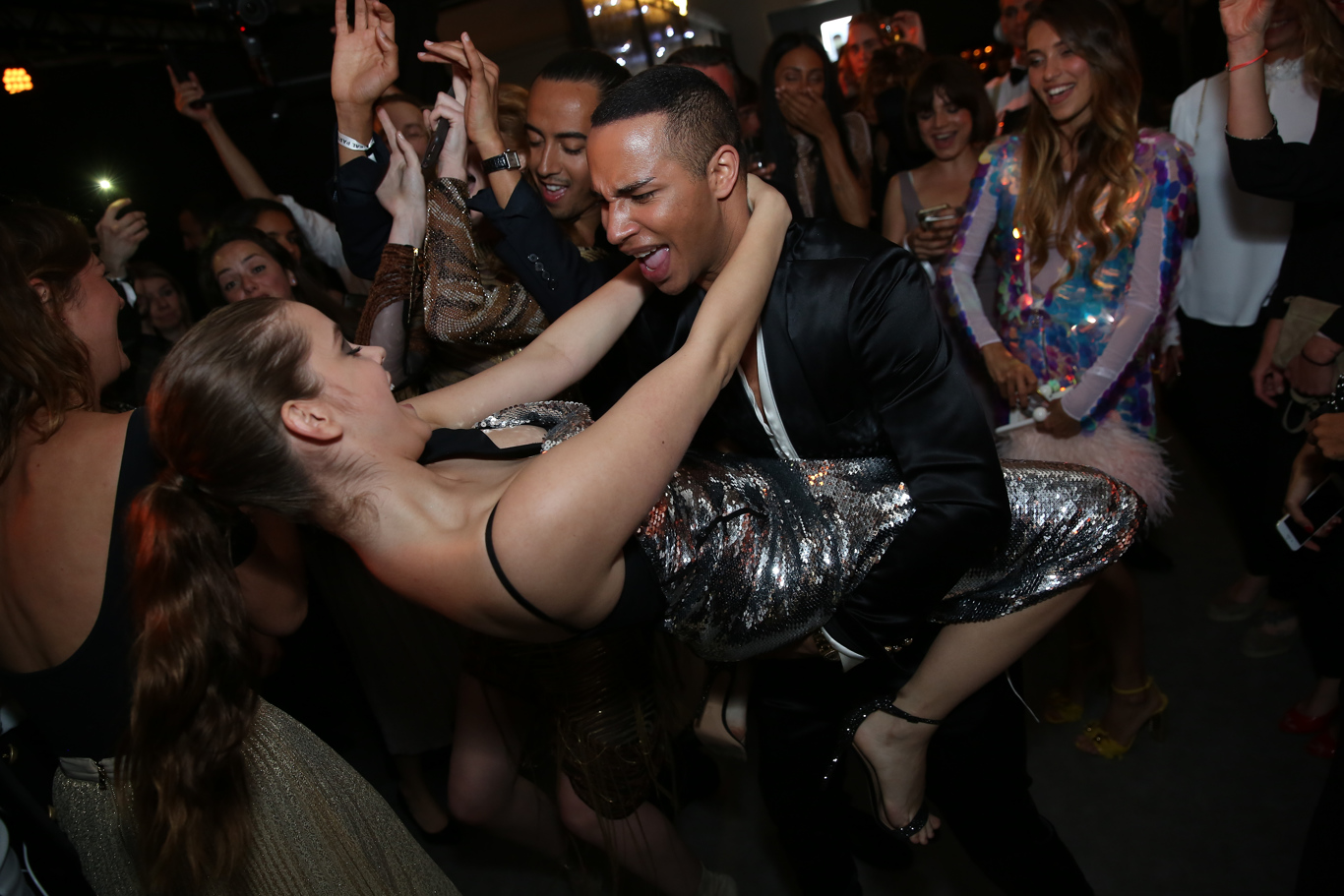 Olivier Rousteing and Barbara Palvin at the L'OrŽal Paris party during the 70th Cannes Film Festival.