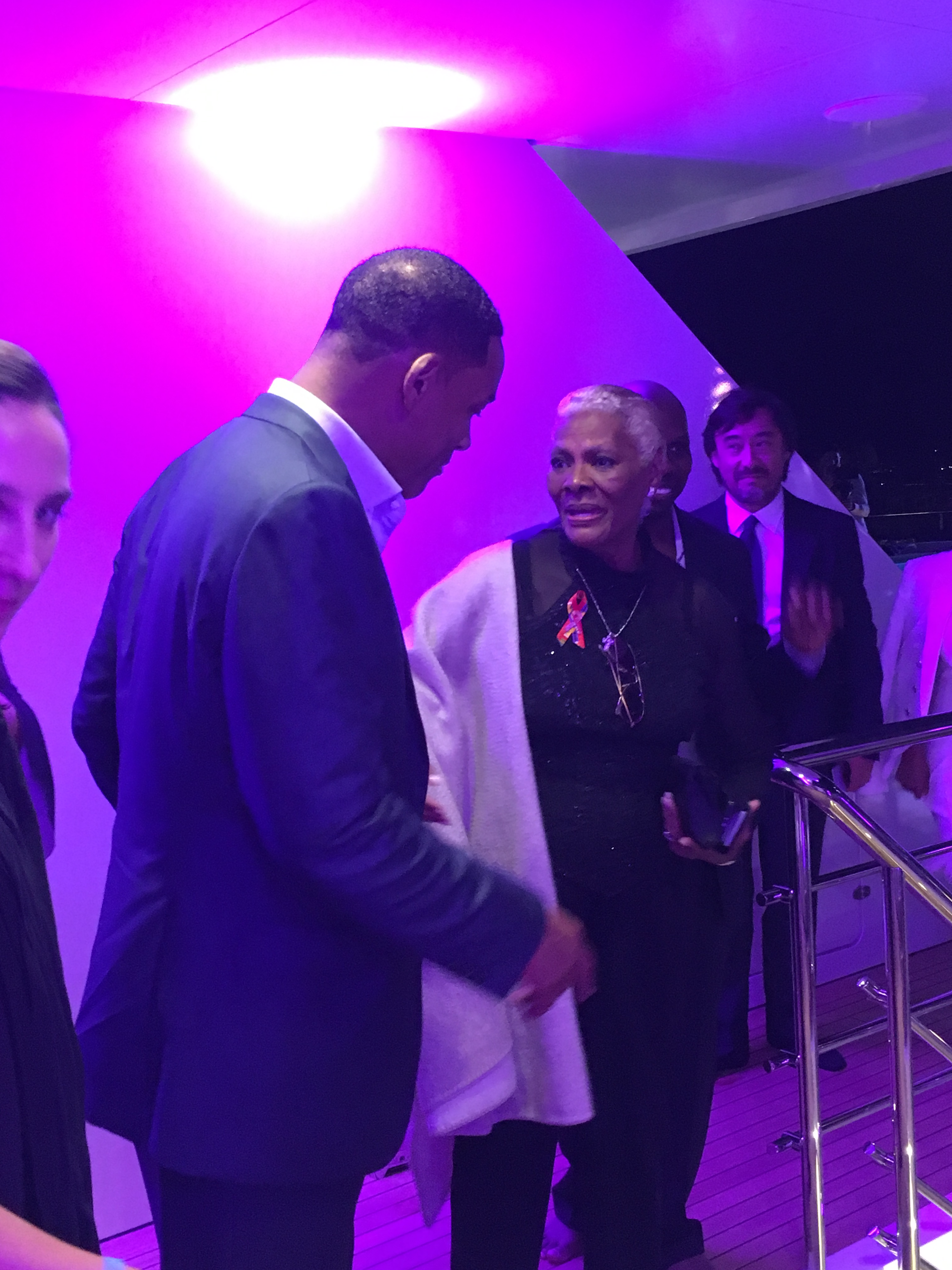 Cannes Film Festival: Will Smith speaking with Dionne Warwick at the Persol party