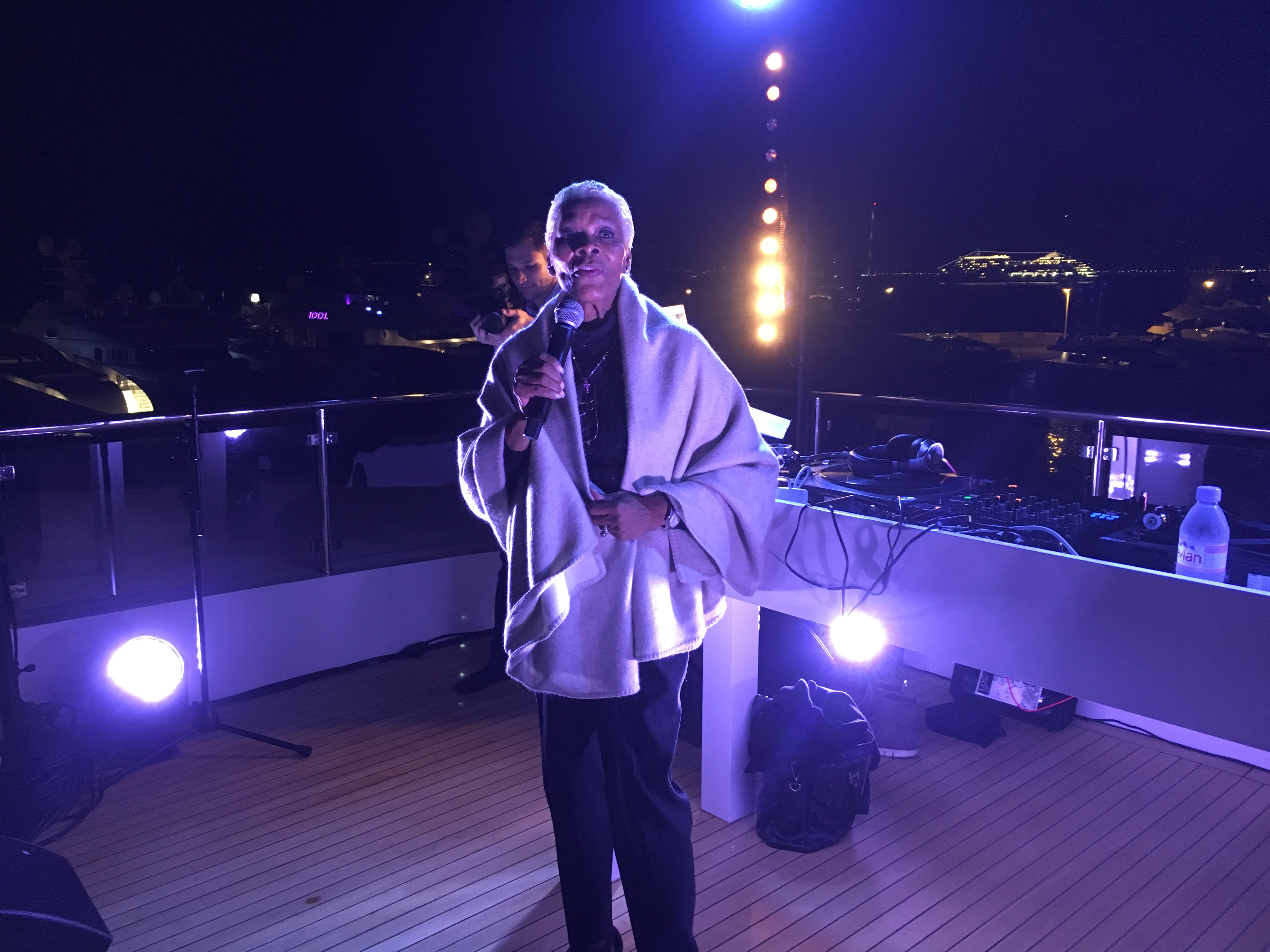 "Cannes Film Festival: Dionne Warwick performing ""That's friends are for"" at the ""Night before amfAR"" Persol 100 year anniversary"