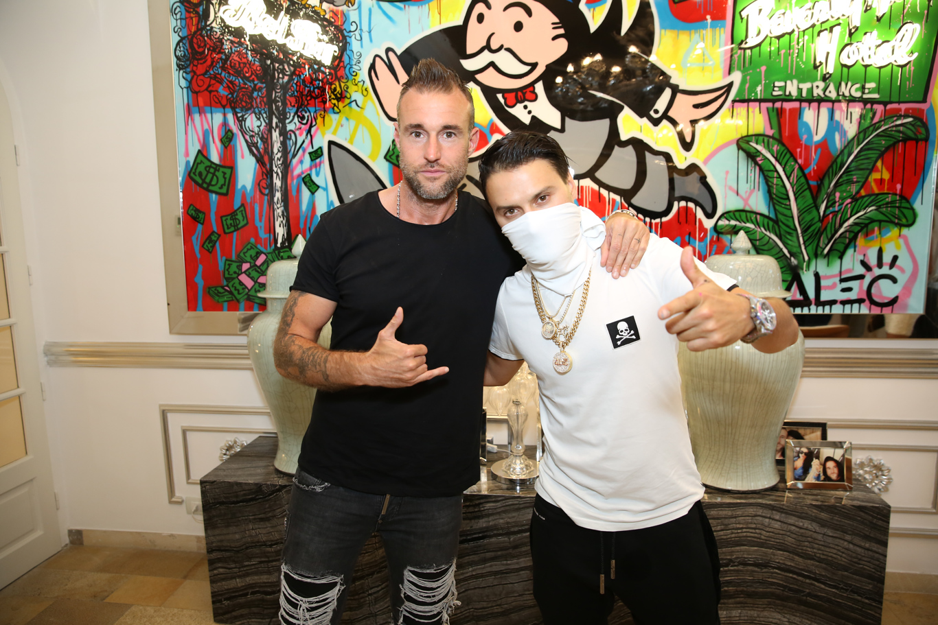 Philipp Plein and Alec Monopoly at Plein's villa, where he hosted his first resort show during Cannes Film Festival.