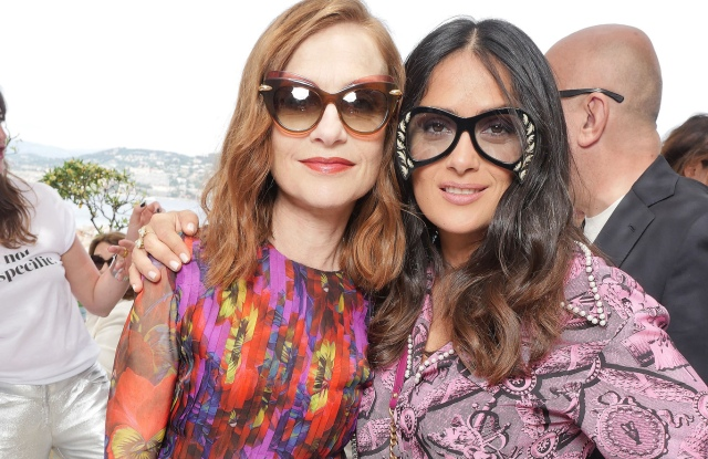 Isabelle Huppert and Salma Hayek at the Kering and Madame Figaro Women in Film Cannes lunch